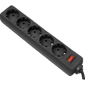 Сетевой фильтр Defender ES, 5м, черный