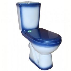Унитаз-компакт Rosa Комфорт косой выпуск, нижний подвод, сидение полипропилен, декор синий