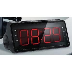 Радиобудильник SUPRA SA-46FM, черный подсветка красная
