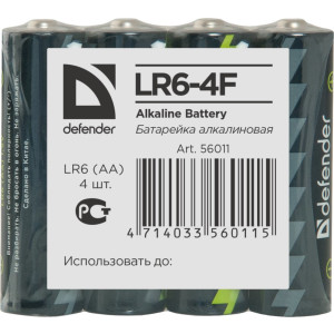Батарейка алкалиновая DEFENDER LR6-4F 4шт