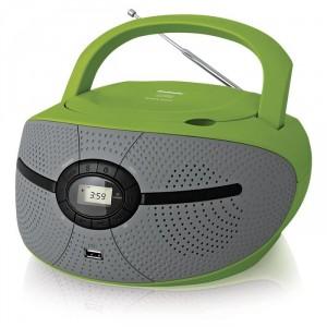 Аудиомагнитола BBK BX195U, зеленый/серый