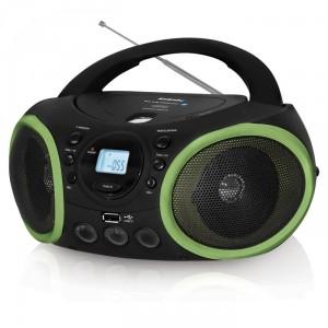 Аудиомагнитола BBK BX150BT, черный/зеленый